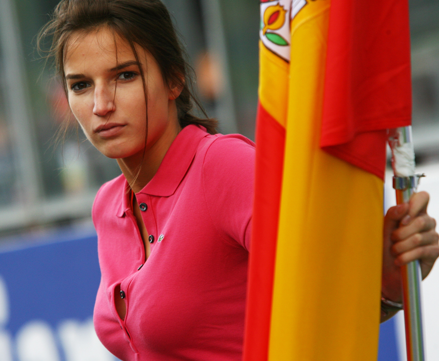 A grid girl at Spa