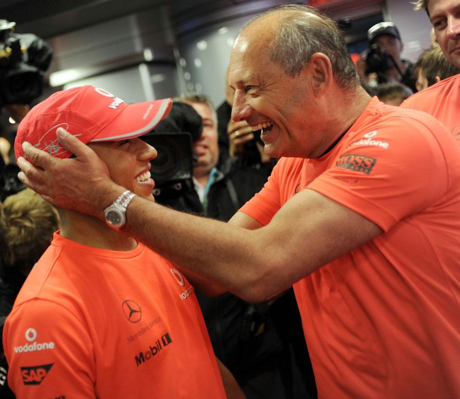 Former McLaren boss Ron Dennis congratulates Lewis Hamilton