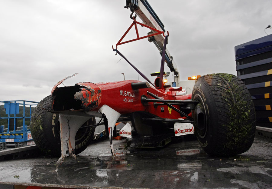 The remains of Fernando Alonso's Ferrari