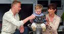 Former World Champion Mika Hakkinen with his son Hugo and wife Erja