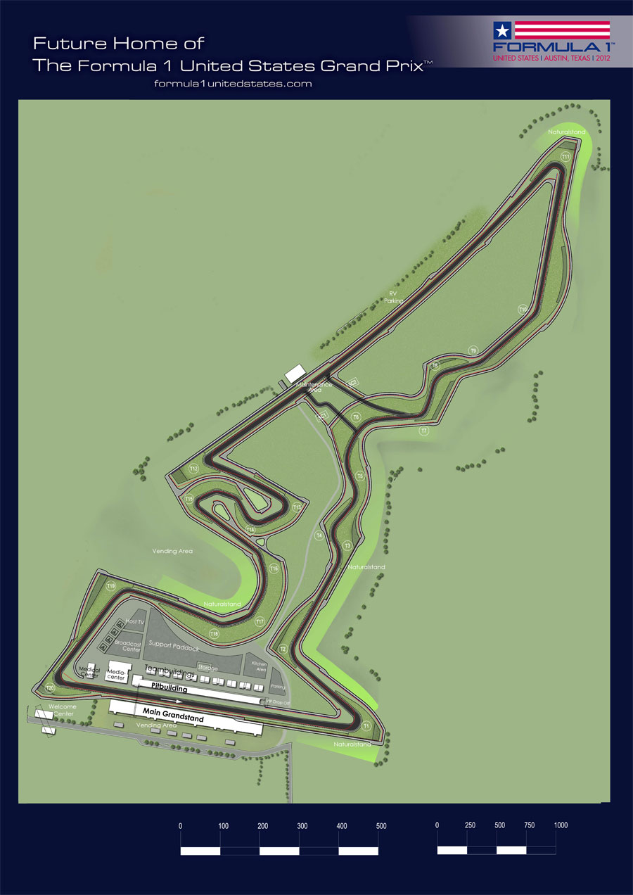 The plan of the proposed US Grand Prix circuit in Austin