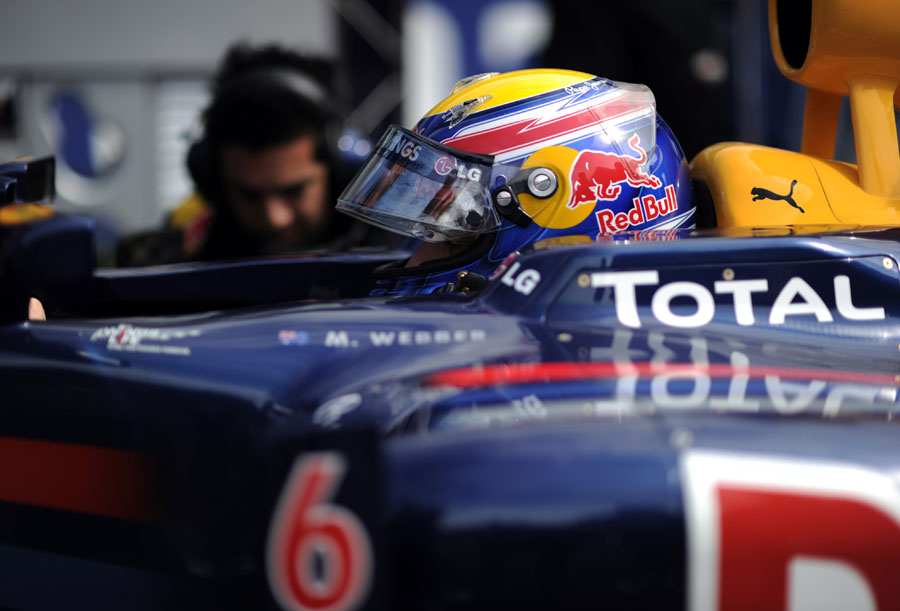 Mark Webber prepares for the start of the race
