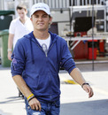 Nico Rosberg arrives at the circuit on Thursday