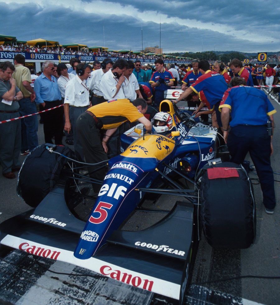 Nigel Mansell waits on the grid before the start of the Australian Grand Prix