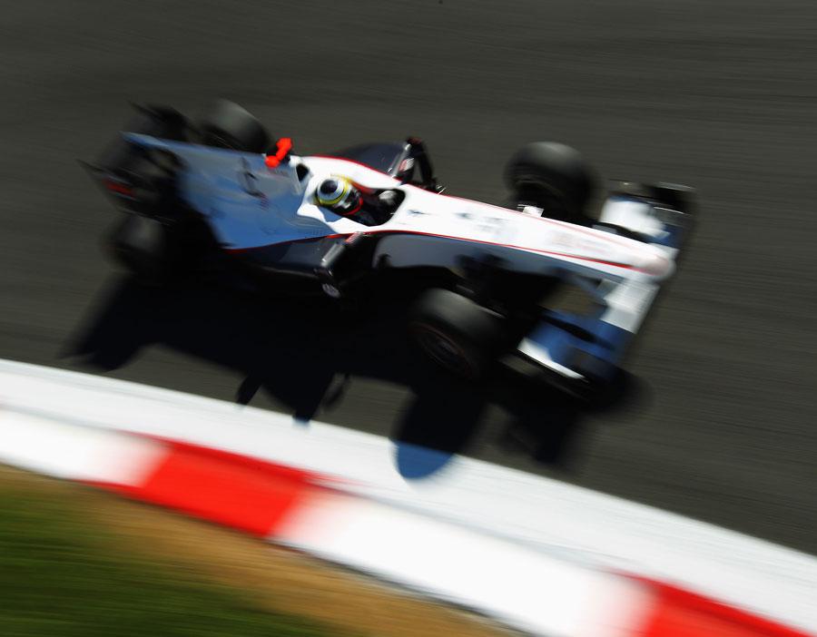 Sauber's Pedro de la Rosa on track