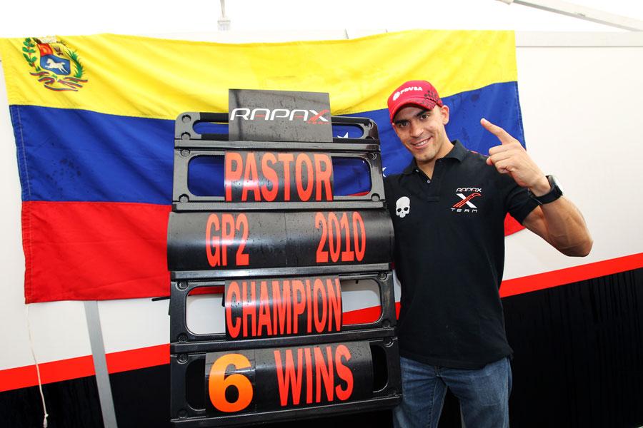 Pastor Maldonado celebrates becoming the 2010 GP2 champion
