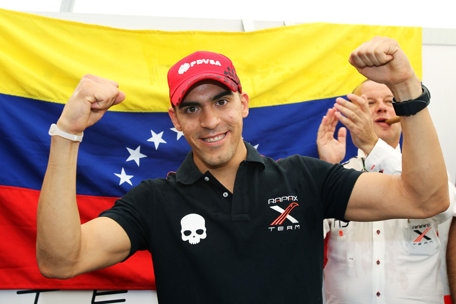 Pastor Maldonado celebrates winning the GP2 championship