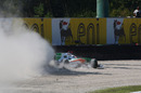 Adrian Sutil runs wide early in the race