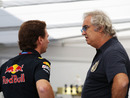 Christian Horner chats with Flavio Briatore