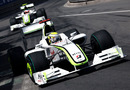 Jenson Button leads Rubens Barrichello into the Loews Hairpin
