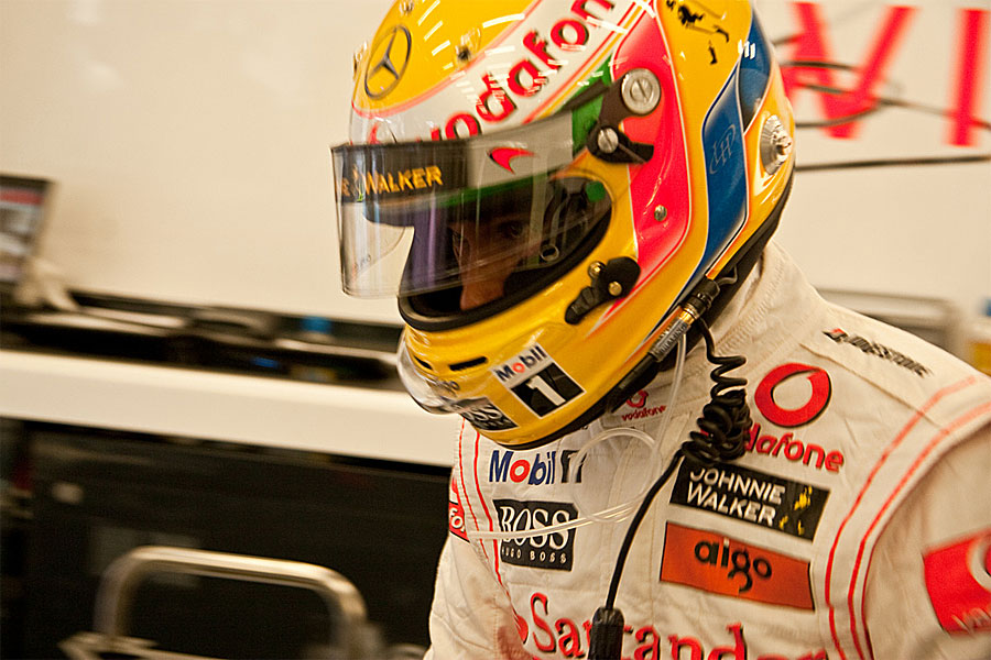 Lewis Hamilton minutes before heading out to the grid
