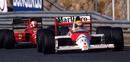 Nigel Mansell on the tail of Ayrton Senna