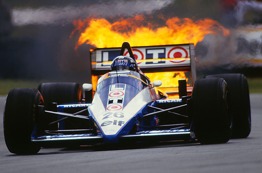 Jacques Laffite's turbo engine catches fire