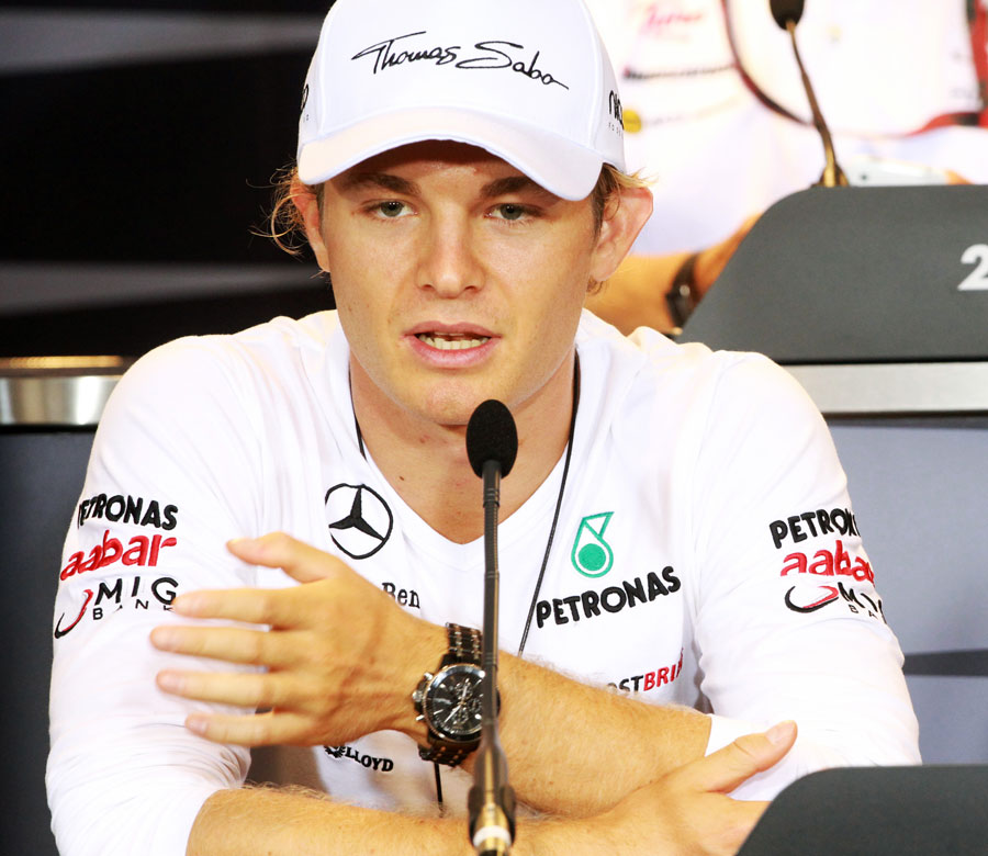 Nico Rosberg talks to the press