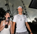 Nico Rosberg arrives in the Singapore paddock under heavy rain clouds