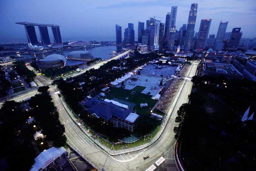 An aerial view from the Swissotel of the first practice session