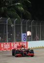 Lewis Hamilton on track on slick tyres