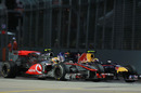 Lewis Hamilton and Mark Webber come together at turn seven