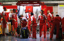 A hive of activity in the Ferrari garage