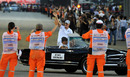 Michael Schumacher acknowledges the crowd on the parade lap