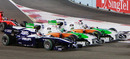 Adrian Sutil, Tonio Liuzzi and Rubens Barrichello battle for position