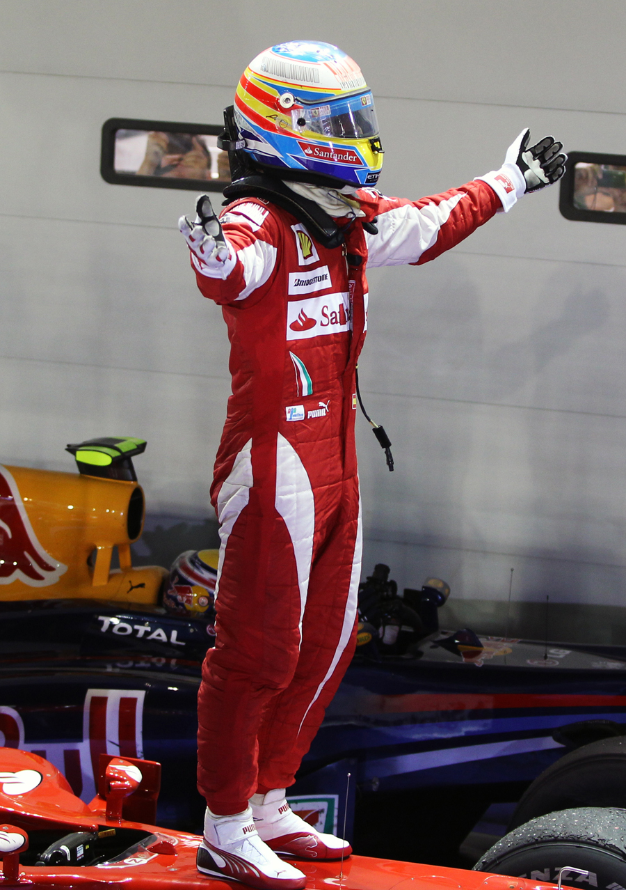 Who's the man? Fernando Alonso celebrates his victory