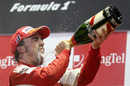 Champagne flows as Fernando Alonso celebrates his victory