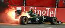 Heikki Kovalainen's Lotus blazes