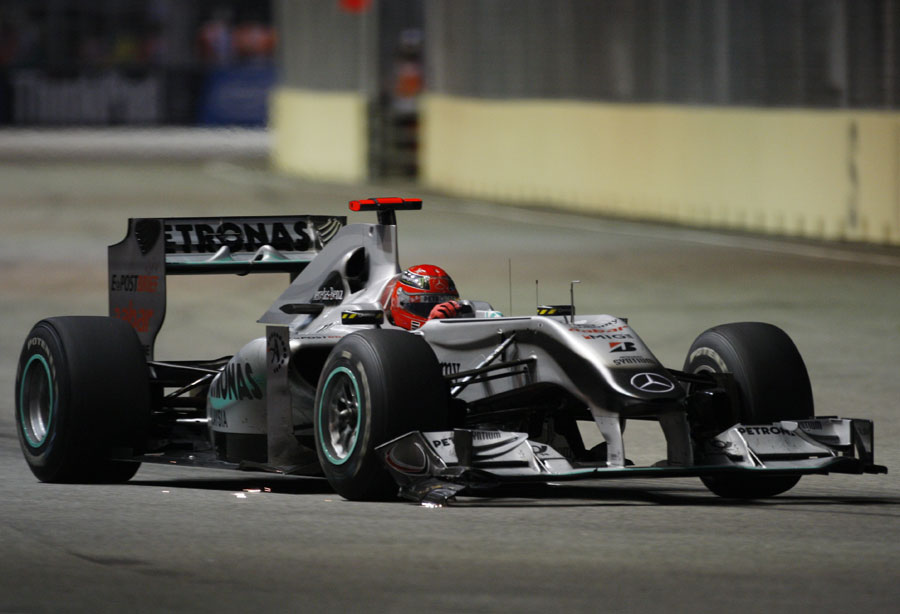 A broken front wing didn't help Michael Schumacher