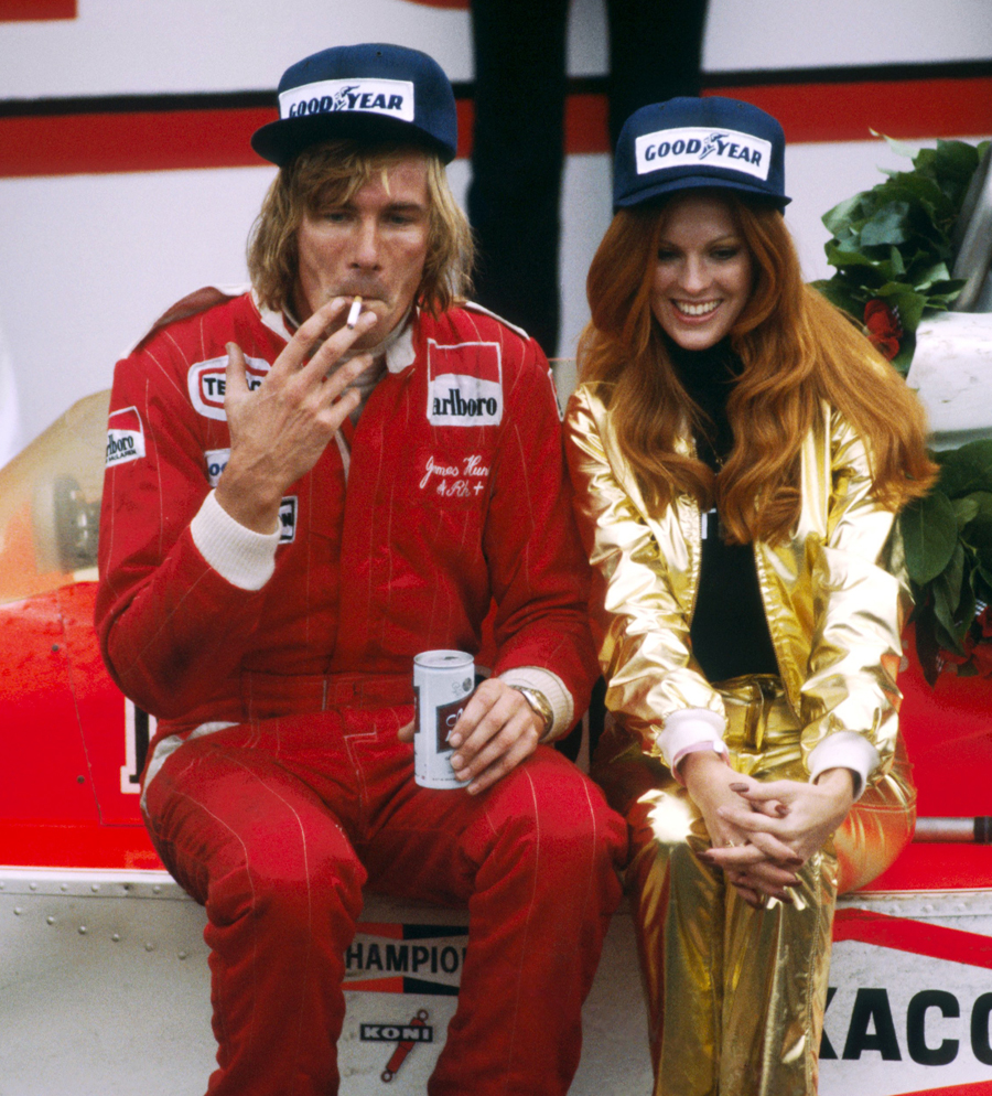 James Hunt celebrates his win a cigarette, a beer, and a Penthouse Pet