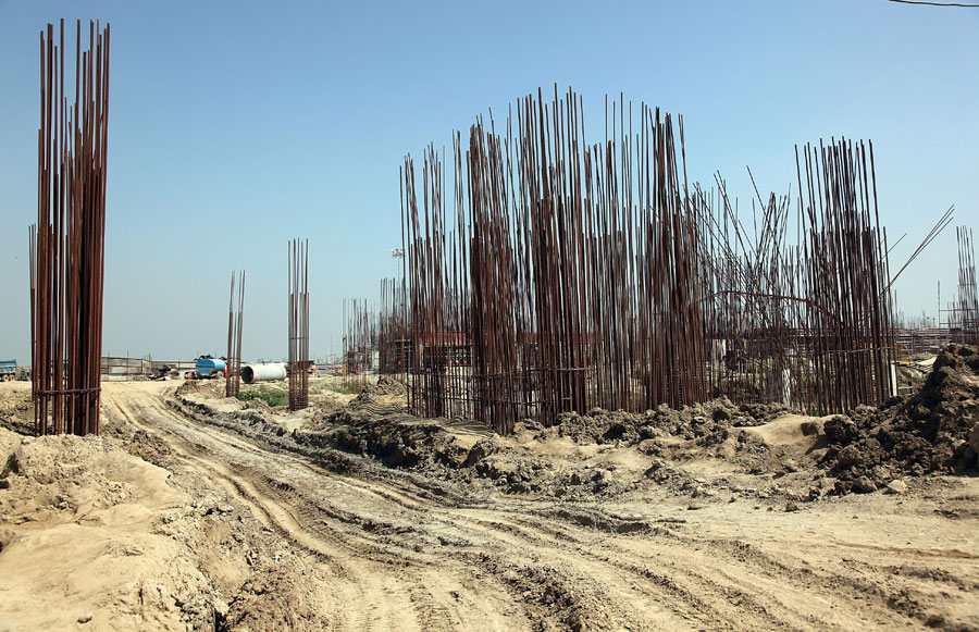 A general view of work at the site for the inaugural 2011 Indian Grand Prix near New Delhi
