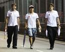 Sakon Yamamoto walks the circuit with his engineers