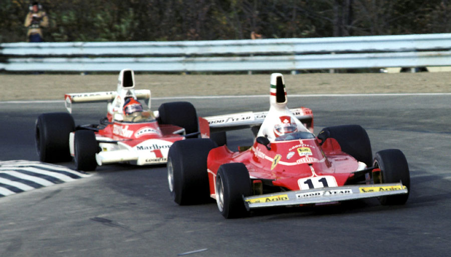 Emerson Fittipaldi is blocked by Clay Regazzoni ... eventually  Regazzoni  was black flagged