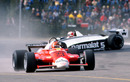 Nelson Piquet spins off after his handling deteriorated as Bruno Giacomelli passes him
