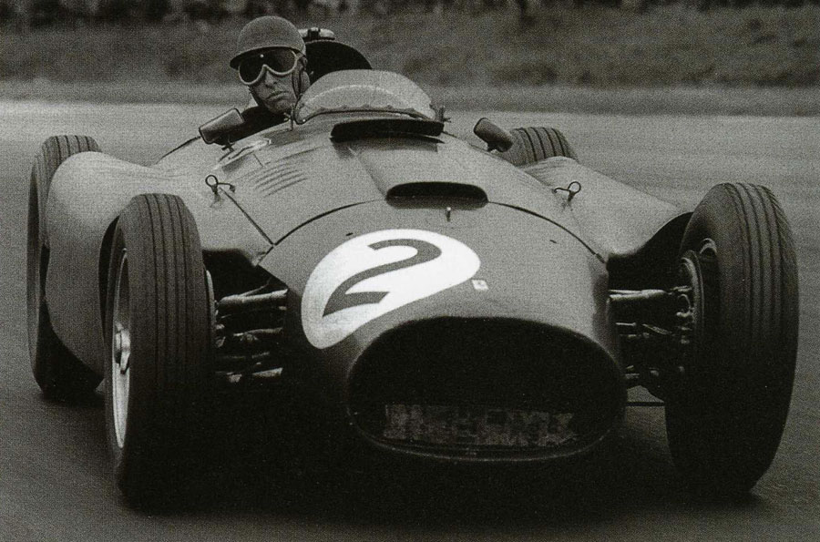 Peter Collins at the wheel of his Ferrari