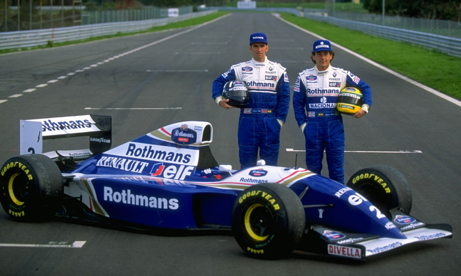 Damon Hill and Ayrton Senna pose at the start of the 1994 season