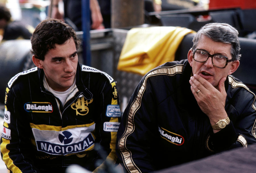Ayrton Senna with Lotus boss Peter Warr