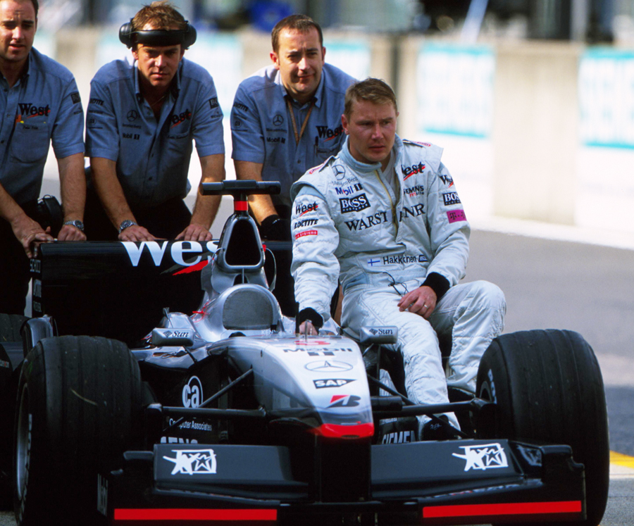 Mika Hakkinen heads out for his final grand prix