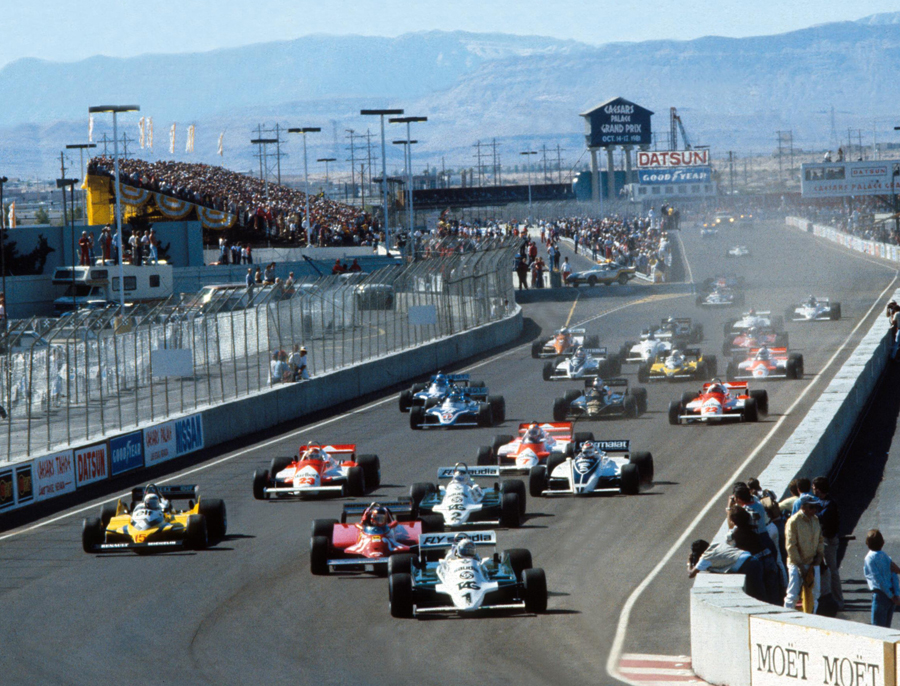 Alan Jones leads the field away on his way to victory at the Caesar's Palace Grand Prix