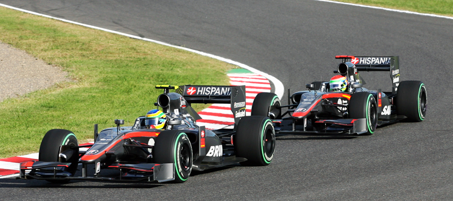 Battle at the back ... Bruno Senna holds off Sakon Yamamoto
