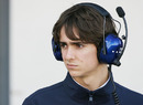 Esteban Gutierrez looks on from the paddock