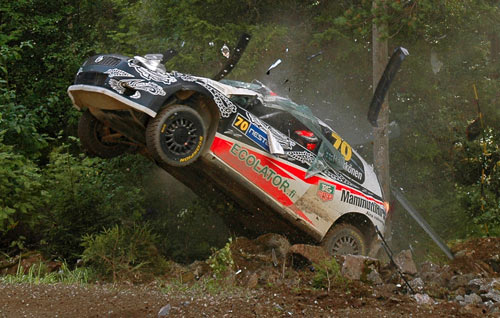 Kimi Raikkonen's WRC debut ended with a massive accident