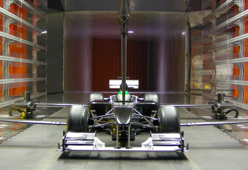 A model of Lotus' 2010 car in its windtunnel