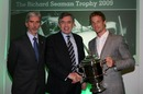 Jenson Button recieves the  Richard Seaman Trophy from prime minister Gordon Brown at the BRDC Awards Dinner in London