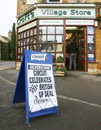 A shop in Silverstone village promotes the news