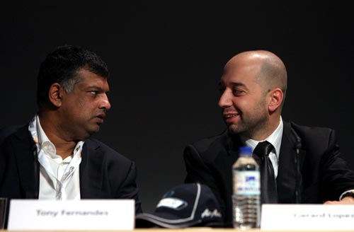 Tony Fernandes and Gerard Lopez at the motorsport business forum