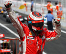 Kimi Raikkonen celebrates victory in Spain