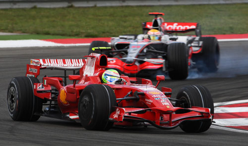 Felipe Massa hold off Lewis Hamilton