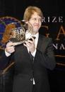 Sebastian Vettel collects his award