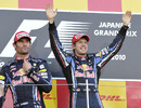 Sebastian Vettel and Mark Webber on the podium